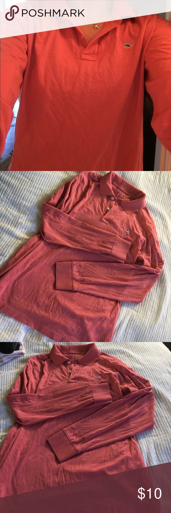 VINEYARD VINES CORAL LONG SLEEVE RUGBY SHIRT SZ L Pre owned. Women's large. Size Large. No stains or odors. Smoke free home. Small tag hole (pictured) at bottom of back collar. Not visible. Vineyard Vines Tops Tees - Long Sleeve