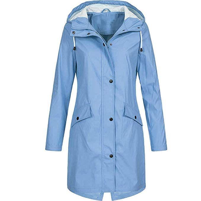 212c18abf31 Nadition Women s Windbreaker 🌲 Fashion Solid Rain Jacket Outdoor Hoodie  Waterproof Long Coat Windproof Overcoat at Amazon Women s Coats Shop