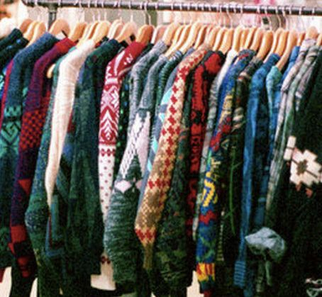 Vintage Mystery Sweaters - Over-sized Mystery Sweaters: All Hipster Colors - All Grunge Patterns.