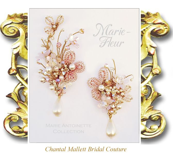 MARIE-FLEUR: Gold clip ons with soft pinks, apricot & peach seed beads & crystal & cream pearls. The right earring extends up the curve of the ear. Turn them into shoulder dusters by clipping on the matching earring extenders. Hand made to order. Other colours available.