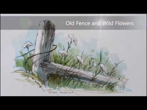 Pen and Wash watercolor tutorial of a Fence post and Wildflowers. With Peter Sheeler - YouTube