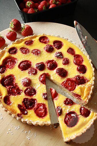 Aardbeien yoghurt taart