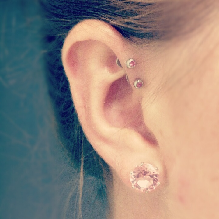 Pink diamonds for my double forward helix!