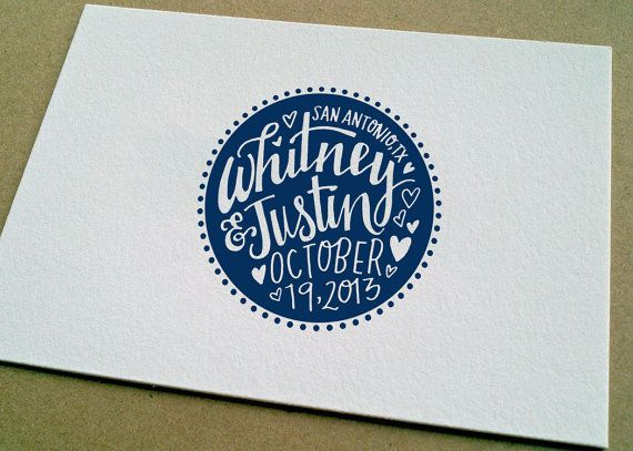 Custom wedding stamp for save the dates, envelopes, guest book,  matchbooks, etc.