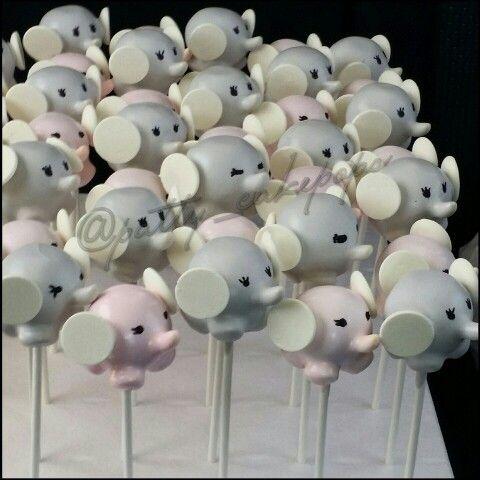 Baby shower elephant cake pops