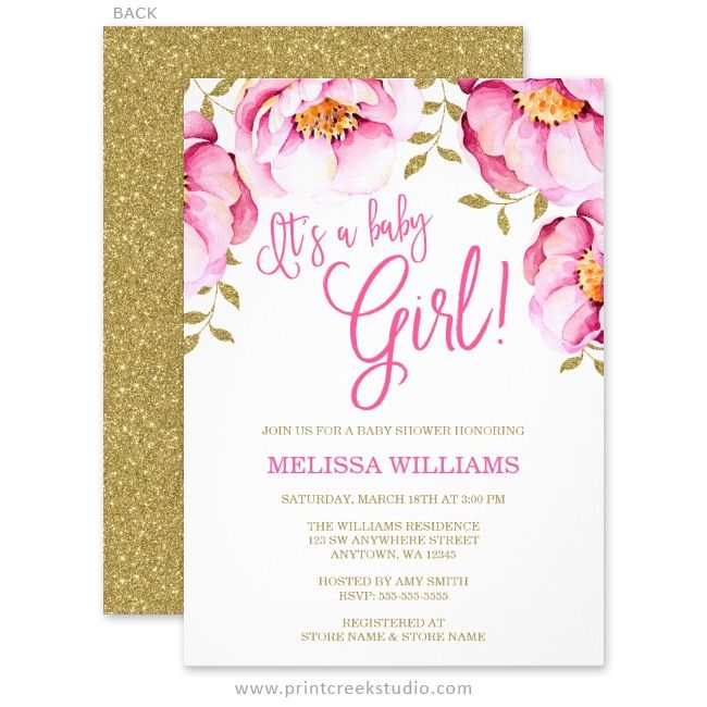 elegant pink and gold faux glitter watercolor flowers girl baby shower invitations