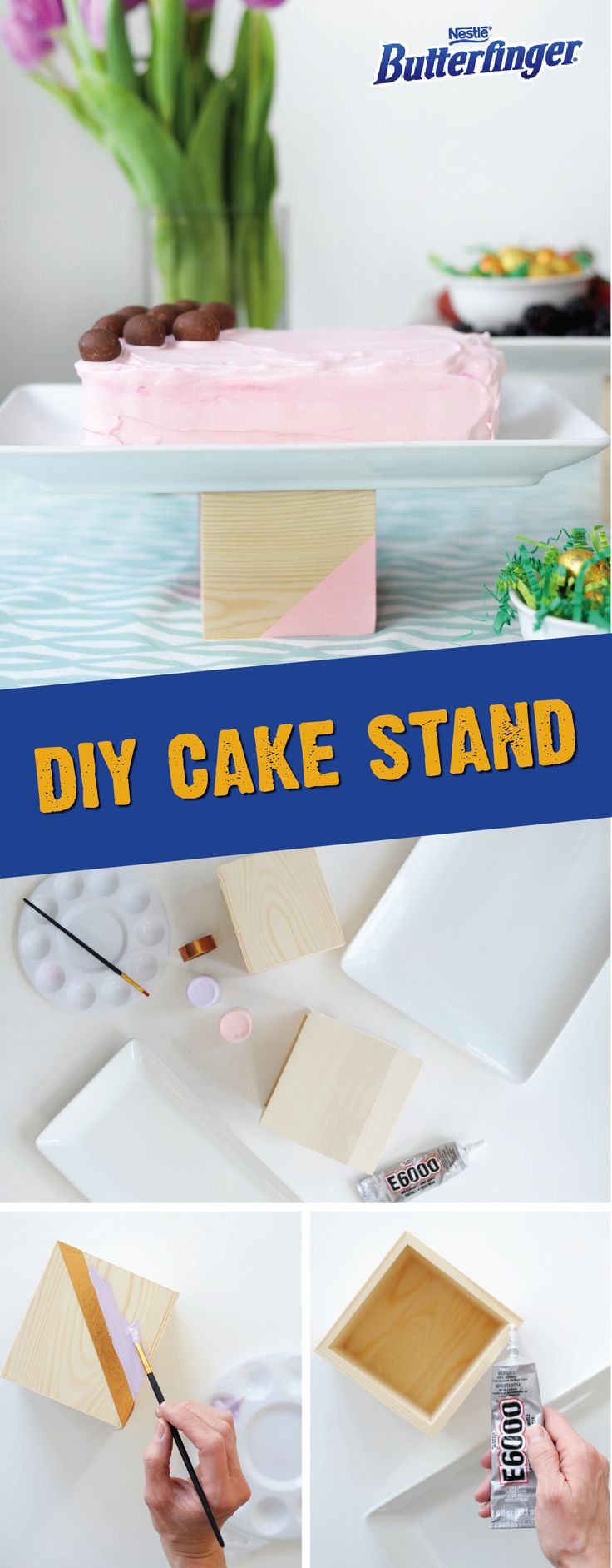 These versatile and easy-to-make DIY wood block cake plates are the perfect accessory for any occasion. Using acrylic paint, decorate a wooden block or vase, and glue it to a round or rectangular serving plate. Serve your friends and family food on these unique and creative table decorations at your next party. Click here to learn more about this fun entertainment idea.