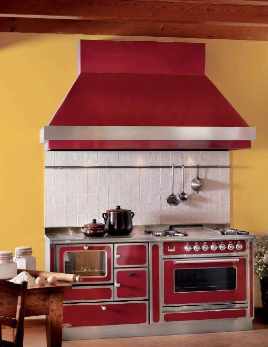 Yellow Paint And Red Retro Kitchen Stove For Decorating In Vintage Style