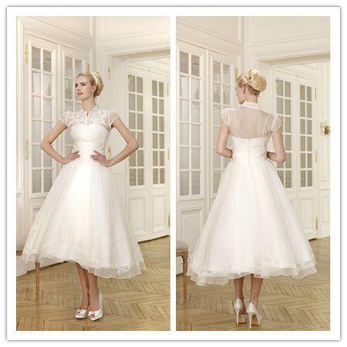 >> Click to Buy << Short Wedding Dress Cap Sleeves Tea-Length Bridal Dress White Organza Beaded Vestidos De Noiva CustomLace Formal Gown L5076 #Affiliate