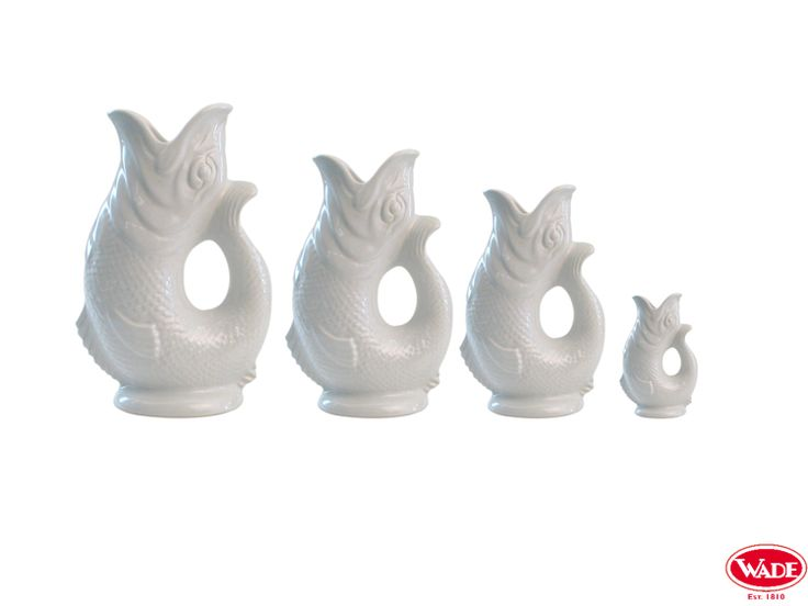 White Gluggle Jugs, pictured in the 4 different available sizes.