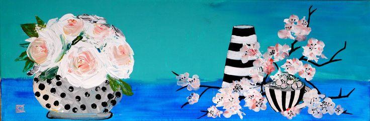 """Peinture Contemporaine, """"Roses et fleurs de cerisier"""", Art Original, Tableau Turquoise, Acrylique sur toile, Nature Vivante : Peintures par cyane-art-contemporain"""