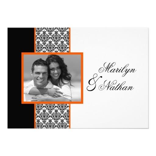 Black White Orange Damask Photo Wedding Invite