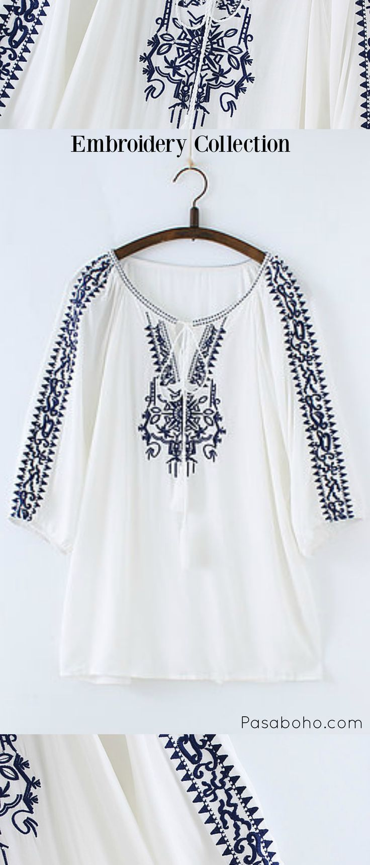 $32.90 - Free Spirit Boho Top is Now Available at Pasaboho ( this boho top exhibits unique design with ethnic embroidered patterns )