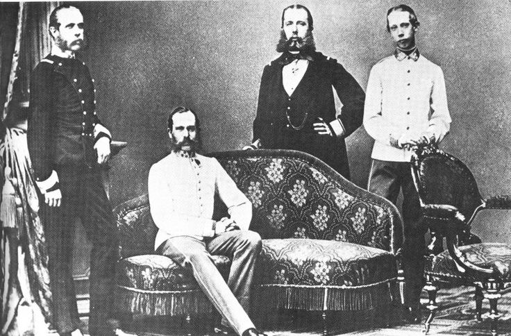 Emperor Franz Joseph of Austria, King of Bohemia and Hungary with his brothers: Left to Right: Archduke Karl Ludwig, Emperor Franz Joseph (sitting down), Archduke Ferdinand Maximilian (Later Emperor of Mexico), Archduke Ludwig Viktor. - Photography by Ludwig Angerer, 1863
