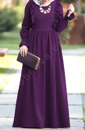 Suhneva - Fırfırlı Narin Elbise - Mor