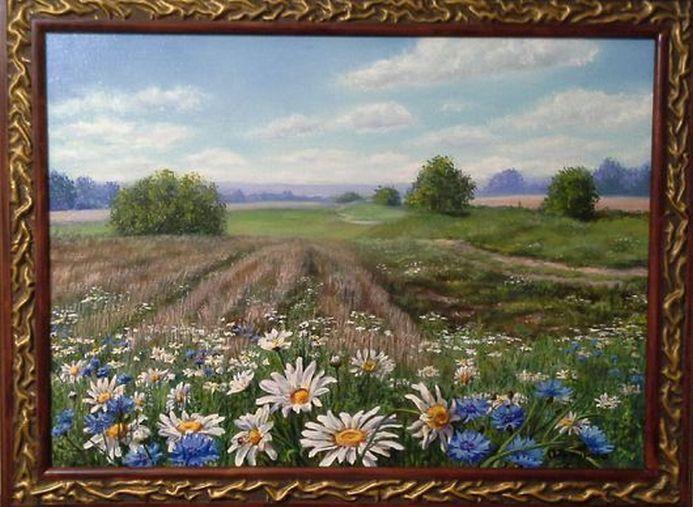 "Landscape Oil painting, oil on canvas, Handmade art ""Daisies yes cornflowers""."
