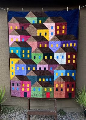 A Quilted Passion - Hillside Houses at night - a custom quilt for an Etsy customer