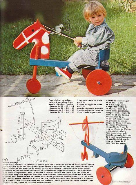Fabriquer un cheval en bois, 100 idées magazine, revue années 70, free pattern