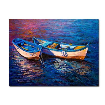 "Longshore Tides 'Boating Sunset' Framed Print Size: 40"" H x 60"" W"