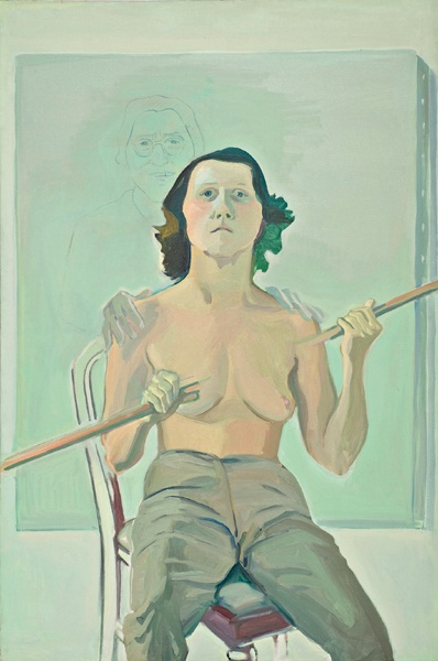 Maria Lassnig, Selbstporträt mit Stab, 1971.