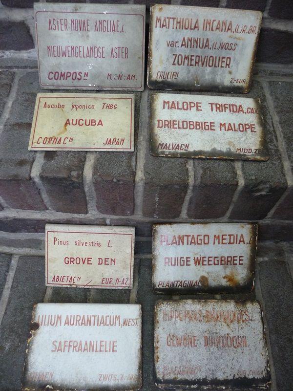 collectie oude geëmailleerde naamplaatjes