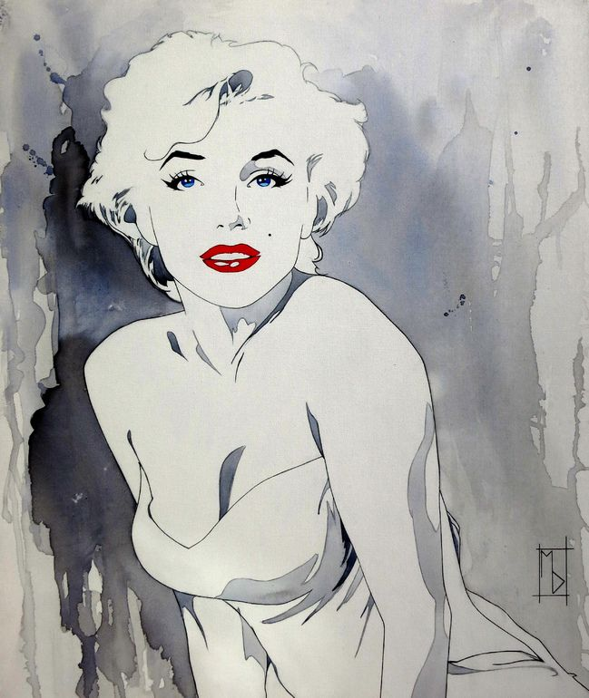 "Saatchi Online Artist: Michelle Delecki; Acrylic 2013 Painting ""Marilyn in a White Dress"""
