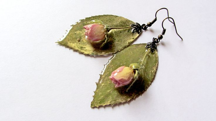 New to ArtOreCrafts on Etsy: Pressed Rose Earrings Rose Petal Dangles Real Rose Leaves Dried  Rose Petals with Pressed Green leaves Tiny Rose gift Resin Jewelry (26.00 USD)