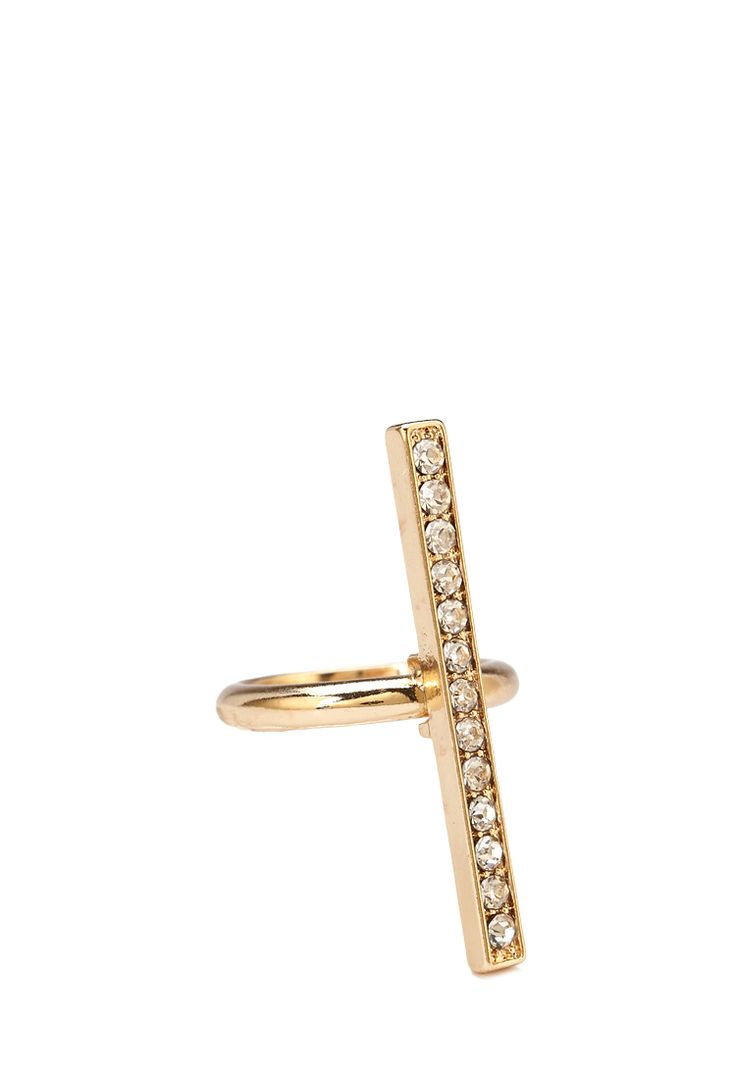 Rhinestoned Linear Cocktail Ring #Accessories