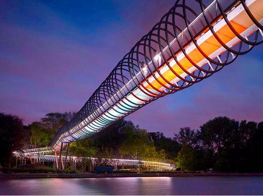 """""""Slinky Slings Bridge"""" in Oberhausen, Germany (by Tobias Rehberger and Schlaich Bergermann and Partner)"""