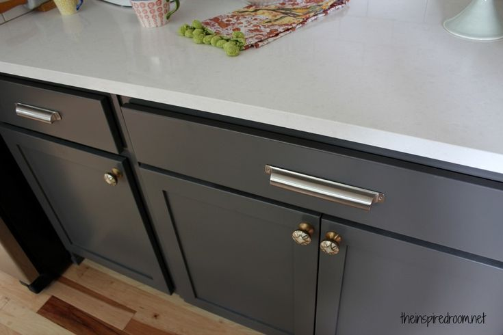 Thinking this is the color I am going to repaint the sideboard and pantry door. Lower Cabinets: Kendall Charcoal {Benjamin Moore}