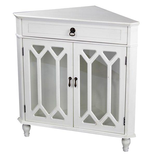 Heather Ann Glass Insert Double Door, Single Drawer Wooden Corner Cabinet