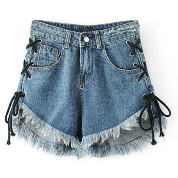 Raw Hem Eyelet Lace Up Denim Shorts (410 MXN) ❤ liked on Polyvore featuring shorts, bottoms, jean shorts, short denim shorts, denim shorts, rock-revival shorts and short jean shorts