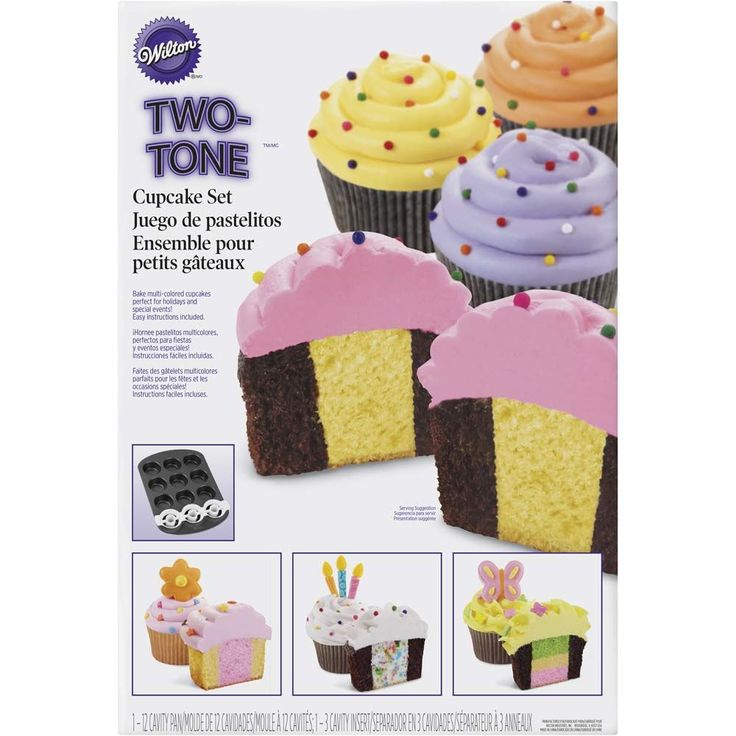Your next cupcakes will have a surprise inside when you use this two-tone cupcake set to add different colors and flavors of batter. Every bite will be an adventure.