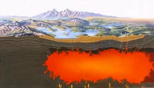 Yellowstone is an active volcano. Surface features such as geysers and hot springs are direct results of the regions underlying volcanism.