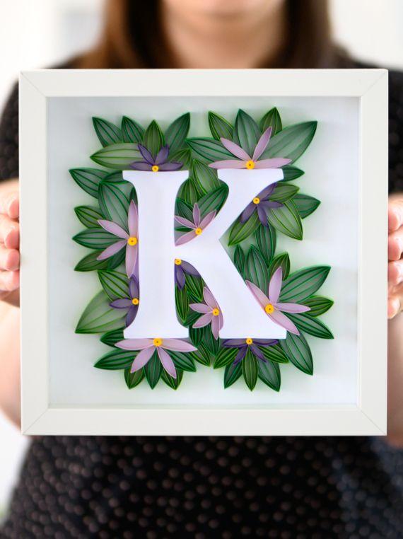 Litera K W Ramce Dekoracje Do Pokoju Dzieciecego Imie Dziecka Inicjal Polski Produkt Paper Art Quilling Art