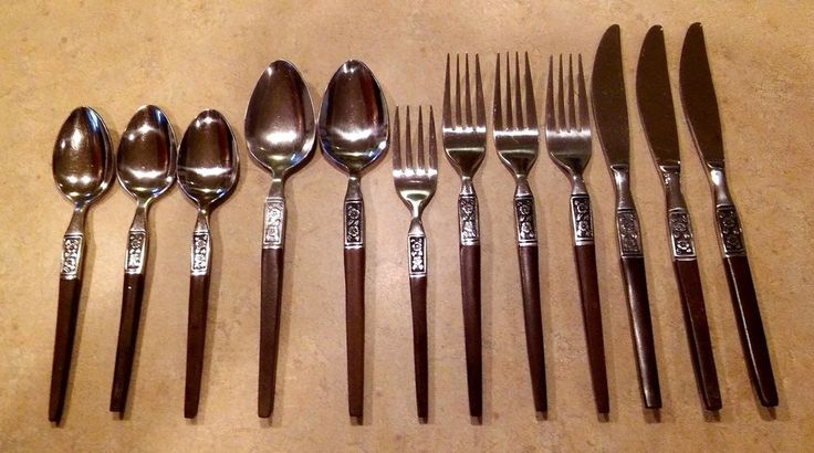 Ekco EKS14 Eterna Flatware Danish Modern Fork Spoon Knife Mid Century 12 Pc Lot #EKCO