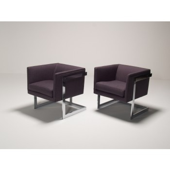 floating cube club chairs milo baughman. a pair of milo baughman floating cube chairs in excellent condition recently reupholstered top club