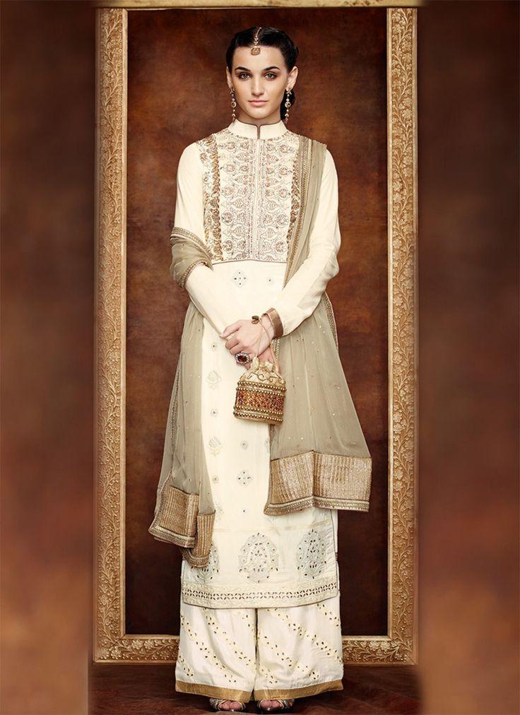 Bucolic Embroidered Cream Designer Salwar Suit - shopneez.com