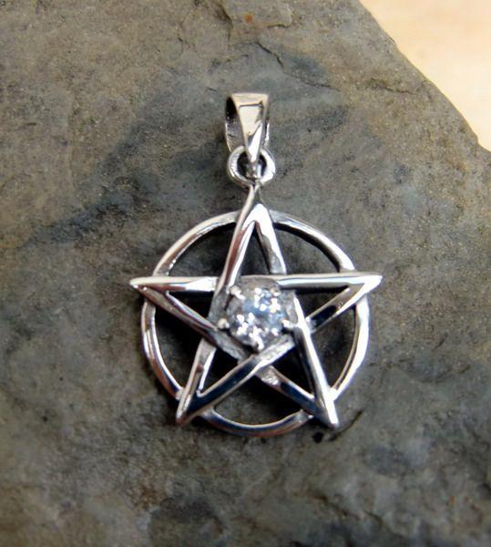 925Silber Pentagramm Schutzamulett Wicca Kristall weiß Magier Druiden Schamanen