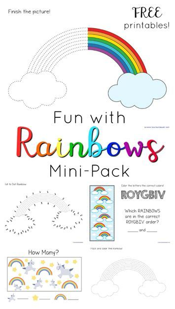 Rainbow Fun Mini Printable Pack ~ Rainbow trace and color, dot to dot, and ROYGBIV fun! (scheduled via http://www.tailwindapp.com?utm_source=pinterest&utm_medium=twpin&utm_content=post151696061&utm_campaign=scheduler_attribution)