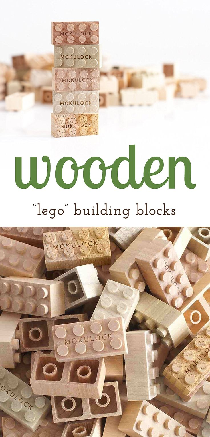 """Wow! These wooden """"lego"""" building blocks are a beautiful addition to a natural…"""