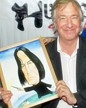 Alan Rickman with art done by someone other than him. No info. given, though ... darn it.