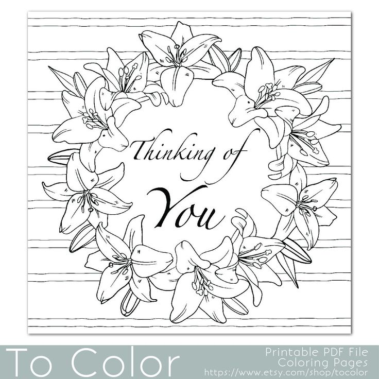 Lilies Frame Thinking Of You Coloring Page For Adults By ToColor