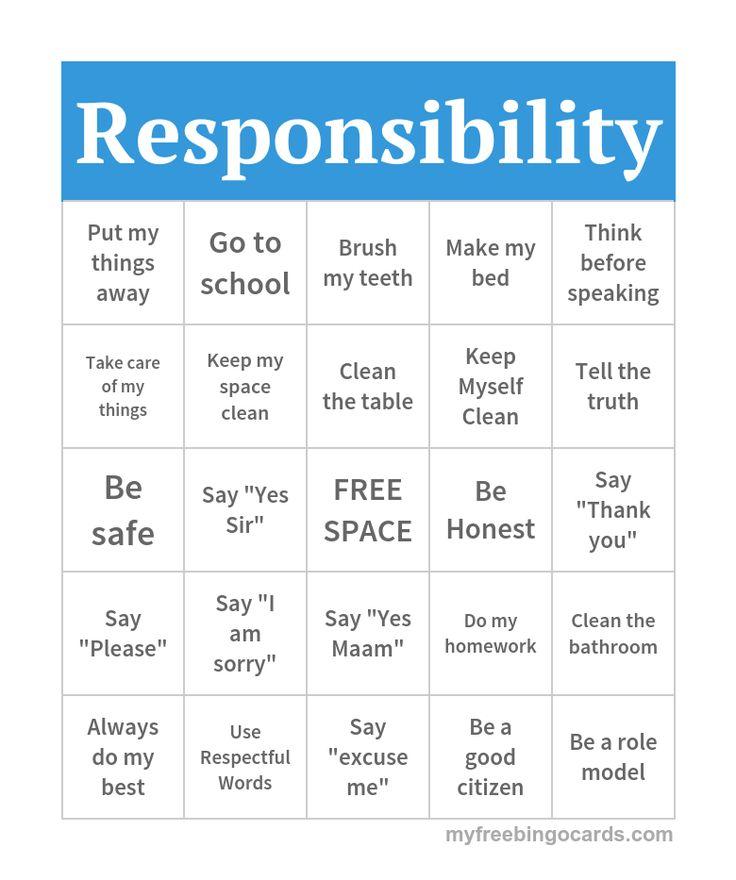 Responsibility Bingo | Bingo // teaching resources | Bingo ...