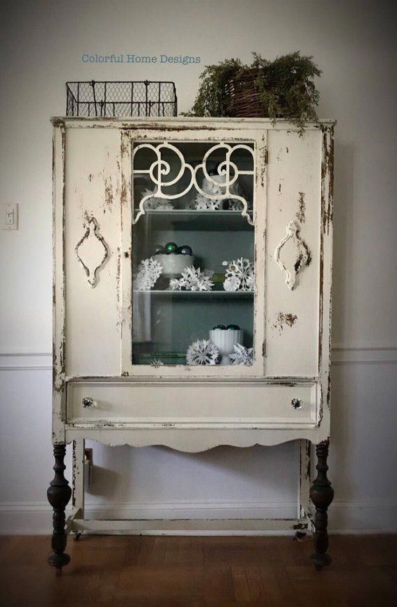 Sold Vintage China Cabinet Shabby Chic Cabinet Farmhouse Cabinet Pick Up Only Shabbychickitchen Shabby Chic Bedrooms
