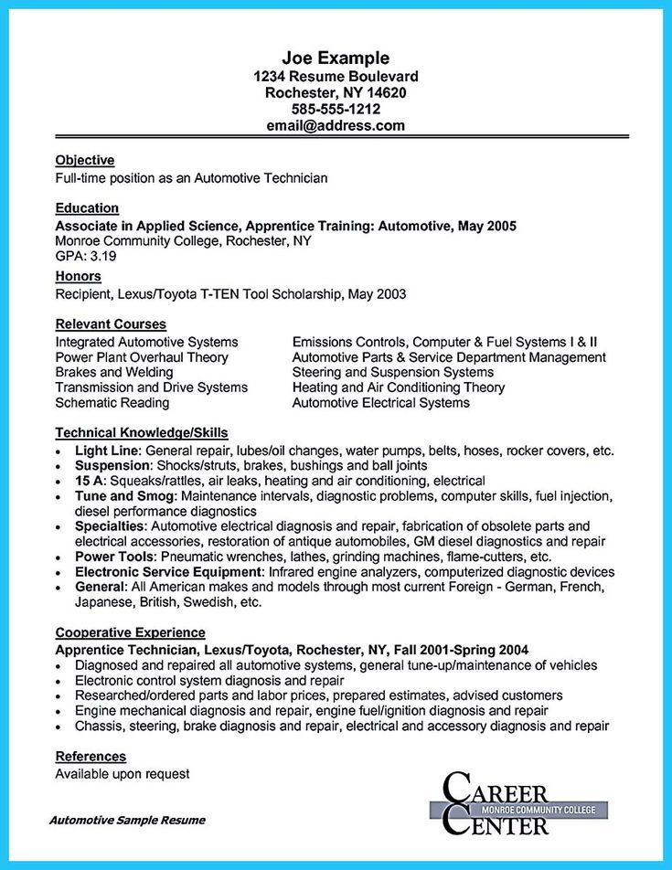 Automotive Resume Objective Unforgettable Automotive Technician