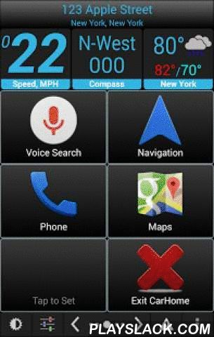 Car Home Ultra  Android App - playslack.com ,  Car Home Ultra is a car dock app that makes it easy to manage your phone while in the car.It can startup automatically when your car's BT is detected, and you can always easily get back to CHU by pressing the home button (see settings->startup options).• Customize an unlimited number of shortcuts to launch apps, direct dial numbers, or even navigate to a specific location. • Use the media controller to manage any music or podcast app on your…