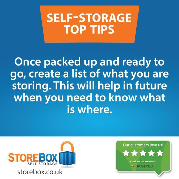 Make a note of whats in the storage unit when using self-storage. storebox.co.uk