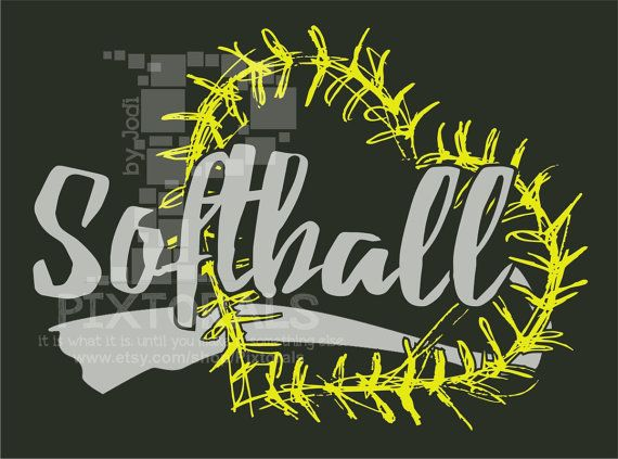 Softball logo with heart laces Softball as PNG JPG by Pixtorals