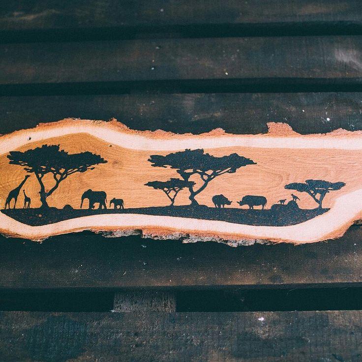 Африка, выжигание, дерево, выжигание на коре дуба